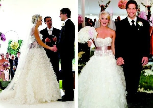 The most unforgettable celebrity wedding dresses of all time the american idol winner wore this ruffled corseted dress with a thick pink sash at the waist junglespirit Choice Image